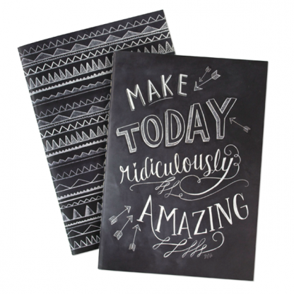 Lily and Val Set of 2 Chalk Print Notebooks. One notebook has the quote 'Make Today Ridiculously Amazing' and the other a black and white aztec design. Both notebooks come together tied up in string