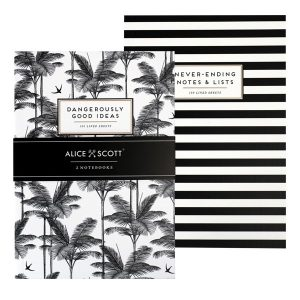 Alice Scott Set of 2 Notebooks. One notebook is black and white striped with the words 'Never Ending Notes ans Lists and the other is a tropical palm print notebook in one of Alice Scott's favourite designs with the words 'Dangerously Good Ideas. Eacg feature gold foil detailing.