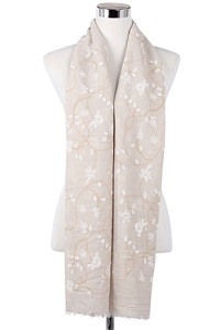 Wisteria London Elizabeth Floral Print Scarf. Embossed two colour flower print frayed scarf. Also available in Mustard