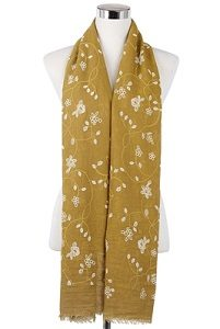 Wisteria London Beatrice Floral Print Scarf. Embossed two colour flower print frayed scarf. Also avaialable in Beige