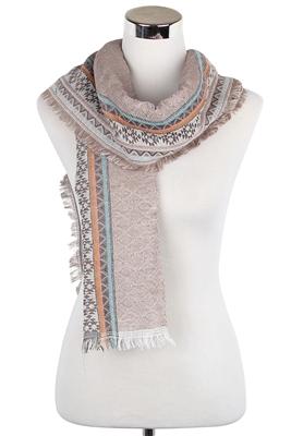 Tribal diamond frayed winter scarf