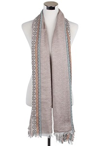 Wisteria London brown scarf accented with a tribal diamond print pattern and finished with frayed edges. Also available in Grey and Black