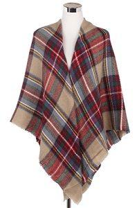 Wisteria London Stewart tartan print blanket scarf in beige/red