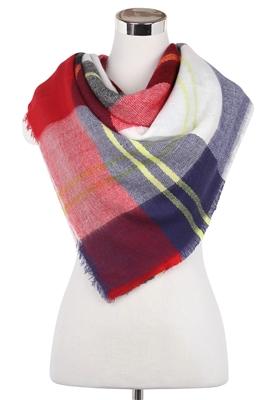 Wisteria London blanket scarf, boasting a bold stewart tartan print pattern.