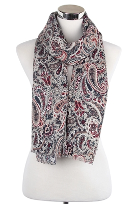 Wisteria London Elizabeth Paisley Print Scarf Grey. Also available in Navy Blue