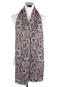 Wisteria London Elizabeth Paisley Print Scarf. Also avaialbe in Navy Blue
