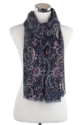 Wisteria London Elizabeth Paisley Print Scarf Navy Blue. Also available in Grey