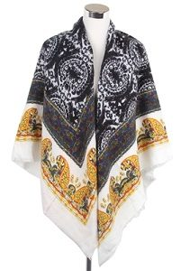 Wisteria London paisley print frayed scarf. Accented with a striking all over paisley pattern.