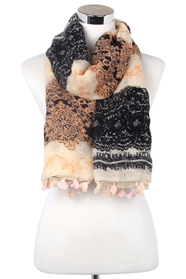 Wisteria London peach/black sketched lace print tassel scarf.