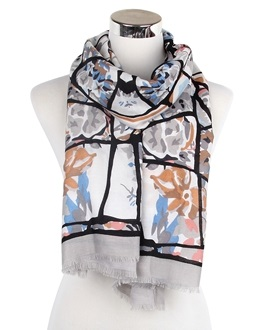 Wisteria London grey bold abstract branches and floral print frayed scarf. Also available in Mustard