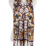 Wisteria London Ivy Abstract Floral Print Scarf. Mustard bold abstract branches and floral print frayed scarf. Also available in Grey and Navy Blue