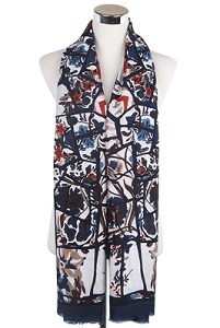 Wisteria London navy blue bold abstract branches and floral print frayed scarf. Also available in Grey and Mustard