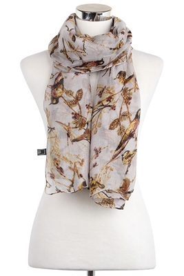 Wisteria London grey garden birds on branches print scarf. Available in a soft palette of grey.