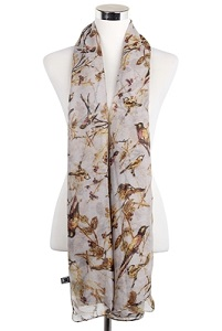 Wisteria London Lola Bird Print Scarf. Grey garden birds on branches print scarf. Available in a soft palette of grey.