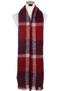 Wisteria London Block colour tartan print scarf in warm tones of navy/red. Also available in pink