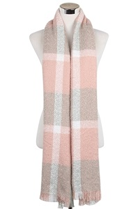 Block colour tartan print scarf in subtle tones of grey and pink. Also available in Navy/Red