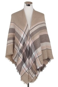 Wisteria London beige tartan print blanket scarf. This thick knit is soft and warm and finished with frayed edges for a real blanket scarf feel. Also available in black/grey and black/yellow