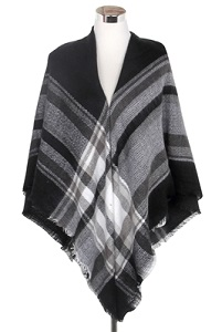 Wisteria London black/grey tartan print blanket scarf. This thick knit is soft and warm and finished with frayed edges for a real blanket scarf feel. Also available in beige and black/yellow
