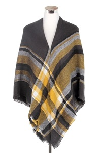 Wisteria London black/yellow tartan print blanket scarf. This thick knit is soft and warm and finished with frayed edges for a real blanket scarf feel. Also available in beige and black/grey