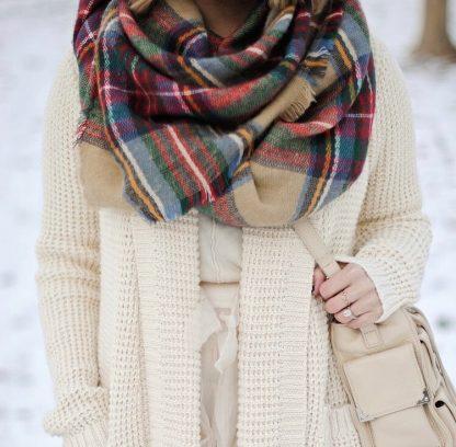 Chloe Red Tartan Blanket Scarf