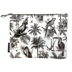 Alice Scott Large Makeup Bag featuring a fun tropical inspired print with palm trees and parrots. It has a stylish humbug stripe lining and zip fastening. Material is PU.