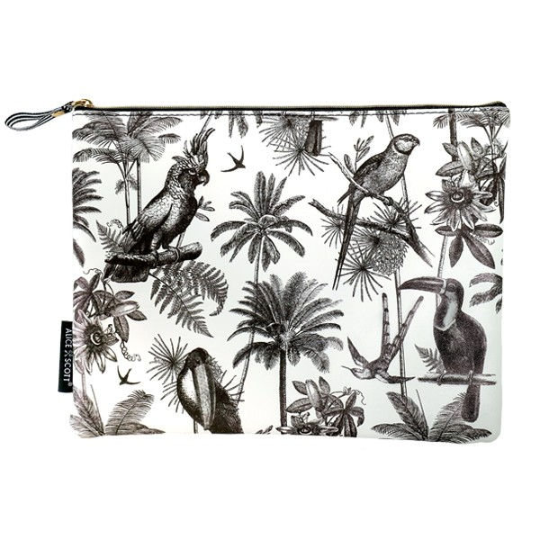 Alice Scott Travel Accessories - Large Makeup Bag featuring a fun tropical inspired print with palm trees and parrots. It has a stylish humbug stripe lining and zip fastening. Material is PU.