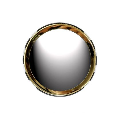 Alice Scott Black and White Stripe one sided compact mirror. Features gold letter detailing with the quote #NOFILTER. The mirror side has a small rim with leopard print design around it