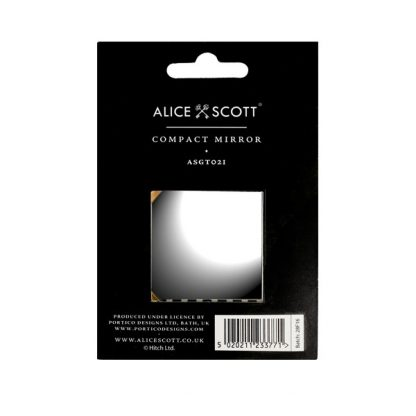 Alice Scott Black and White Stripe Compact Mirror. Features gold lettering detail with the quote #NOFILTER. The mirror is one sided. Comes packaged on Alice Scott branded card