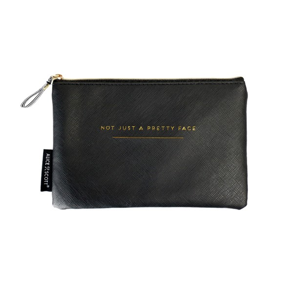 Alice Scott Travel Accessories - Black Makeup Bag featuring gold lettering detail with the quote 'Not Just a Pretty Face.' It has a stylish humbug stripe lining, is made from PU and has a zip fastening.