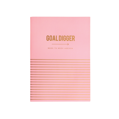 Alice Scott pink undated week to wee agenda planner with gold foil detailing.