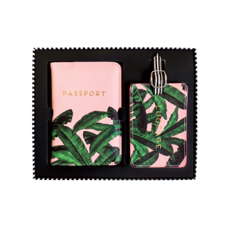 Alice Scott Passport and Luggage Tag Gift Set, perfect for the girl who loves to travel. Adorned in a pink and banana leaf design with gold foil letter detail.