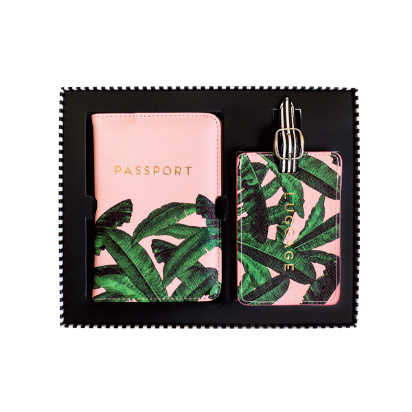 Alice Scott Travel Accessories - Passport and Luggage Tag Gift Set, perfect for the girl who loves to travel. Adorned in a pink and banana leaf design with gold foil letter detail.