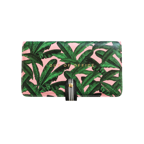 Alice Scott Travel Accessories - Travel Document Wallet, Travel Document Holder and Passport Holder. The must have travel accessory. This handy travel wallet will store your passport, boarding card, currency, tickets and any spare change you may have. Adrned in a beautiful pink and banana leaf print the front of the travel wallet feautures the words 'Out of Office' in gold foil detailing