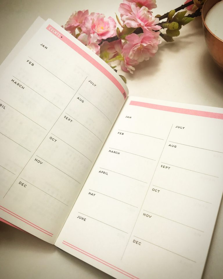 Alice Scott pink undated week to wee agenda planner with gold foil detailing. There are events pages perfect for highlighting events/holidays