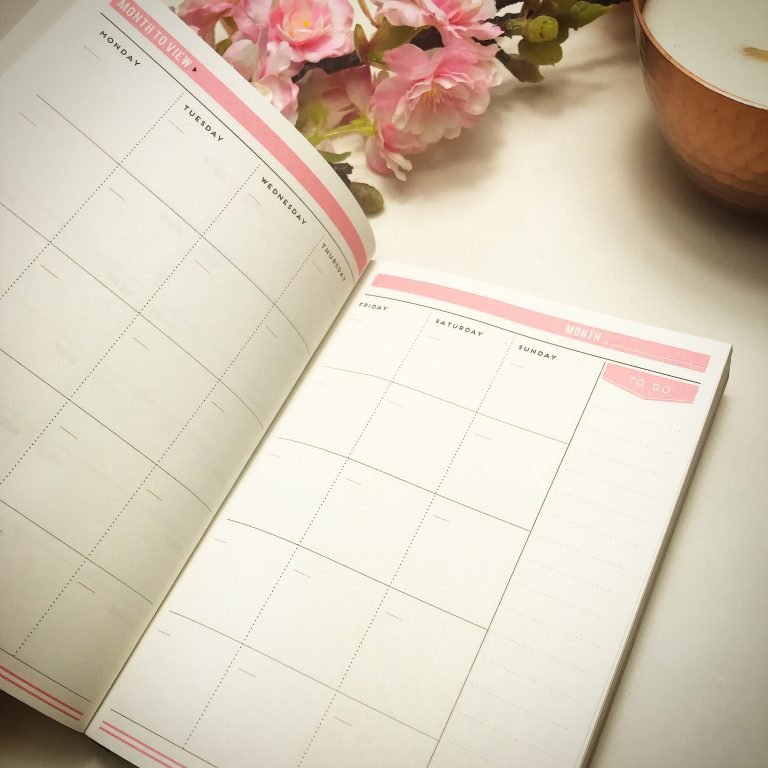 Alice Scott pink undated week to wee agenda planner with gold foil detailing. You can fill in your monthly plans on these pages