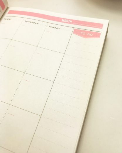 Alice Scott pink undated week to wee agenda planner with gold foil detailing. There is a section for yout 'To Do' lists