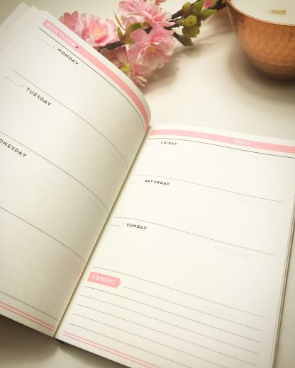 Alice Scott pink undated week to wee agenda planner with gold foil detailing. There's also a section for filling in your weekly plans for each month