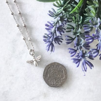 Sterling Silver Bee Necklace on Bobble Chain to Scale
