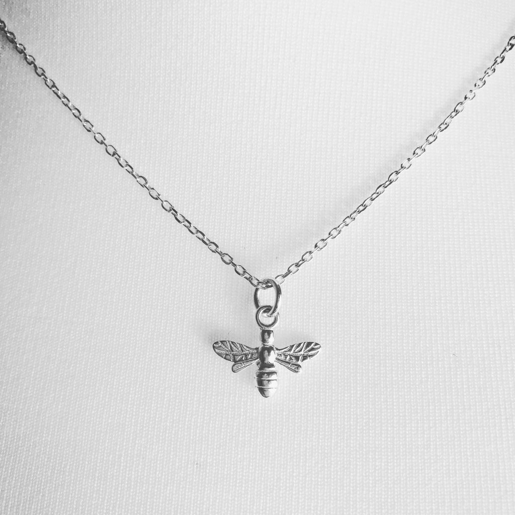 "Sterling Silver Bee Necklace on a 18"" diamond cut cable chain. Also available on an 18"" sterling silver bobble chain"