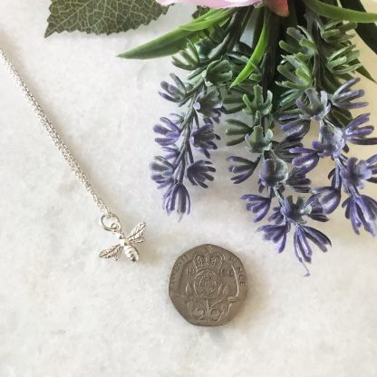 Sterling Silver Bee Necklace to scale