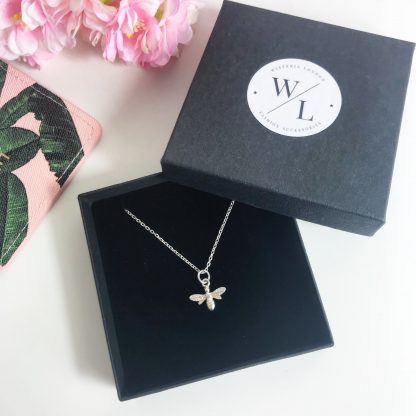"""Sterling Silver Bee Necklace on a 18"""" diamond cut cable chain. Also available on an 18"""" sterling silver bobble chain"""