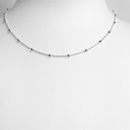 Sterling Silver Bobble Chain Necklace. The chain is 18""