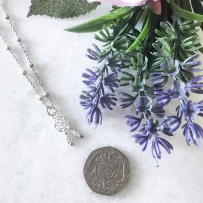 Sterling Silver Dreamcatcher Necklace on bobble chain to scale