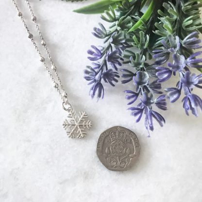 Sterling Silver Snowflake Necklace on Bobble Chain to scale