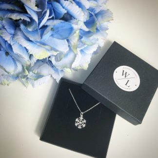 """Sterling Silver Snowflake Necklace on a 18"""" diamond cut cable chain. Also available on an 18"""" sterling silver bobble chain"""