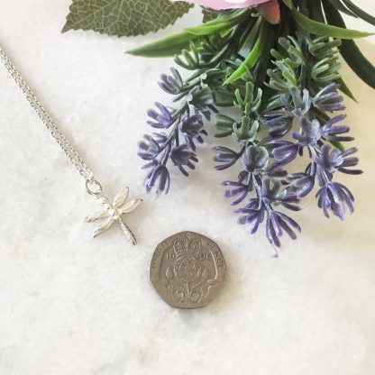 Sterling Silver Dragonfly Necklace to scale