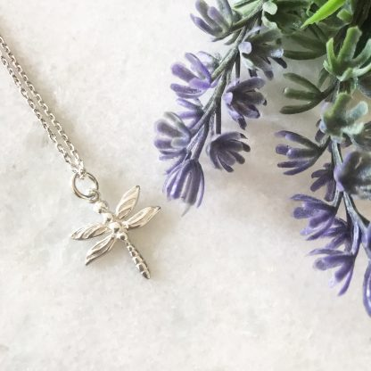 Sterling Silver Dragonfly Necklace Close Up