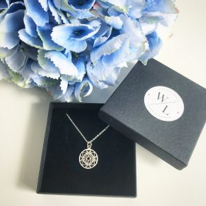 """Sterling Silver Round Filigree Necklace. Available on a 16"""" and 18"""" chain"""