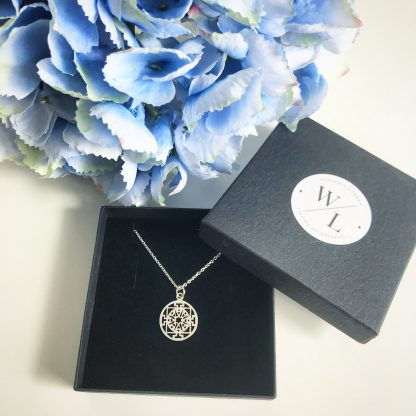 "Sterling Silver Round Filigree Necklace. Available on a 16"" and 18"" chain"