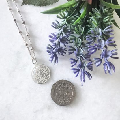 Sterling Silver Round Filigree Necklace on bobble chain to scale